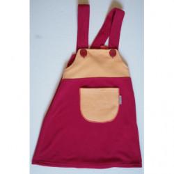 Šaty fleece vínová/žlutá